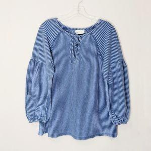 Universal Thread Blue Striped Peasant Blouse Sz M